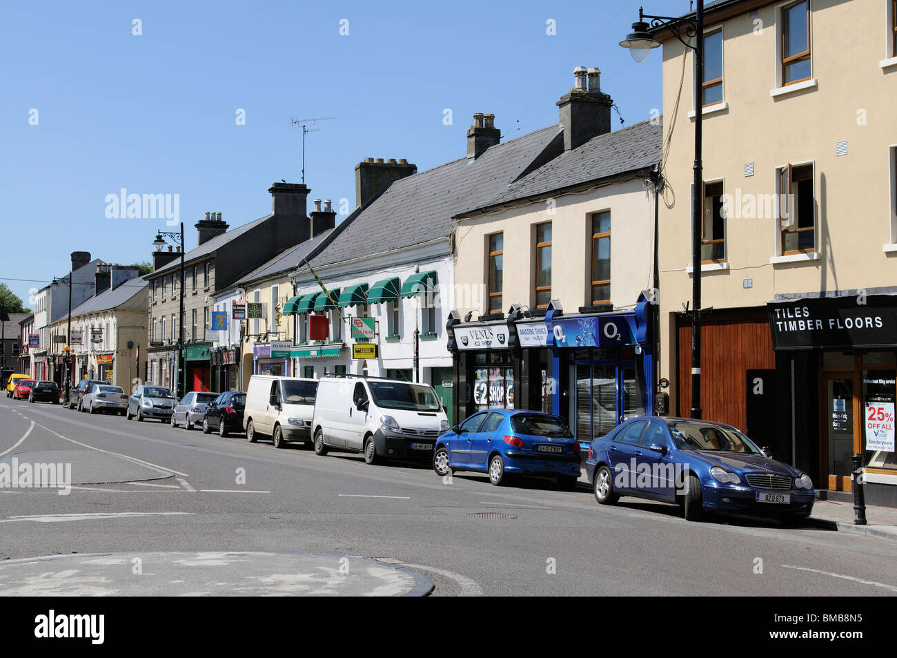 Market Street in the historic town of Trim County Meath Ireland. The town is situated northwest of Dublin - Stock Image