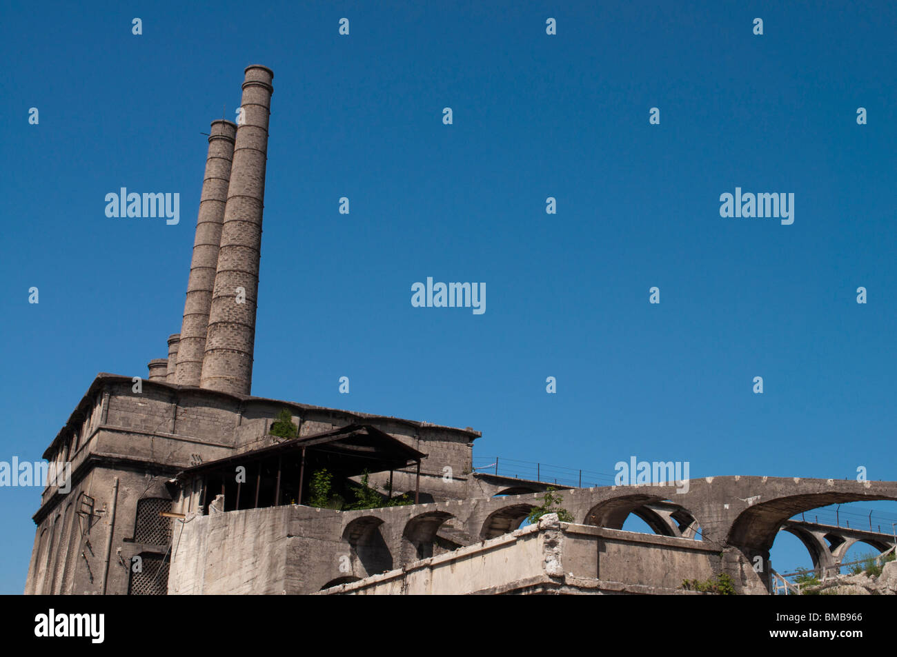 Old abandoned industrial Factory landscape, Bergamo Italy - Stock Image