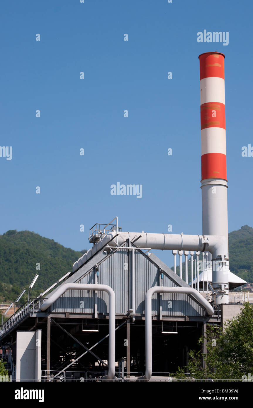 Industrial Electrical Power station,chimney red and white - Stock Image