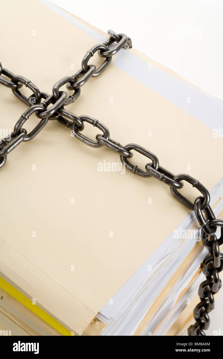Chain and file stack, concept of Confidential Document - Stock Image