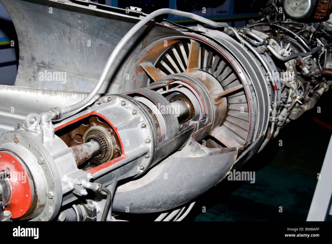 a aircraft jet engine detail in the exposition - Stock Image