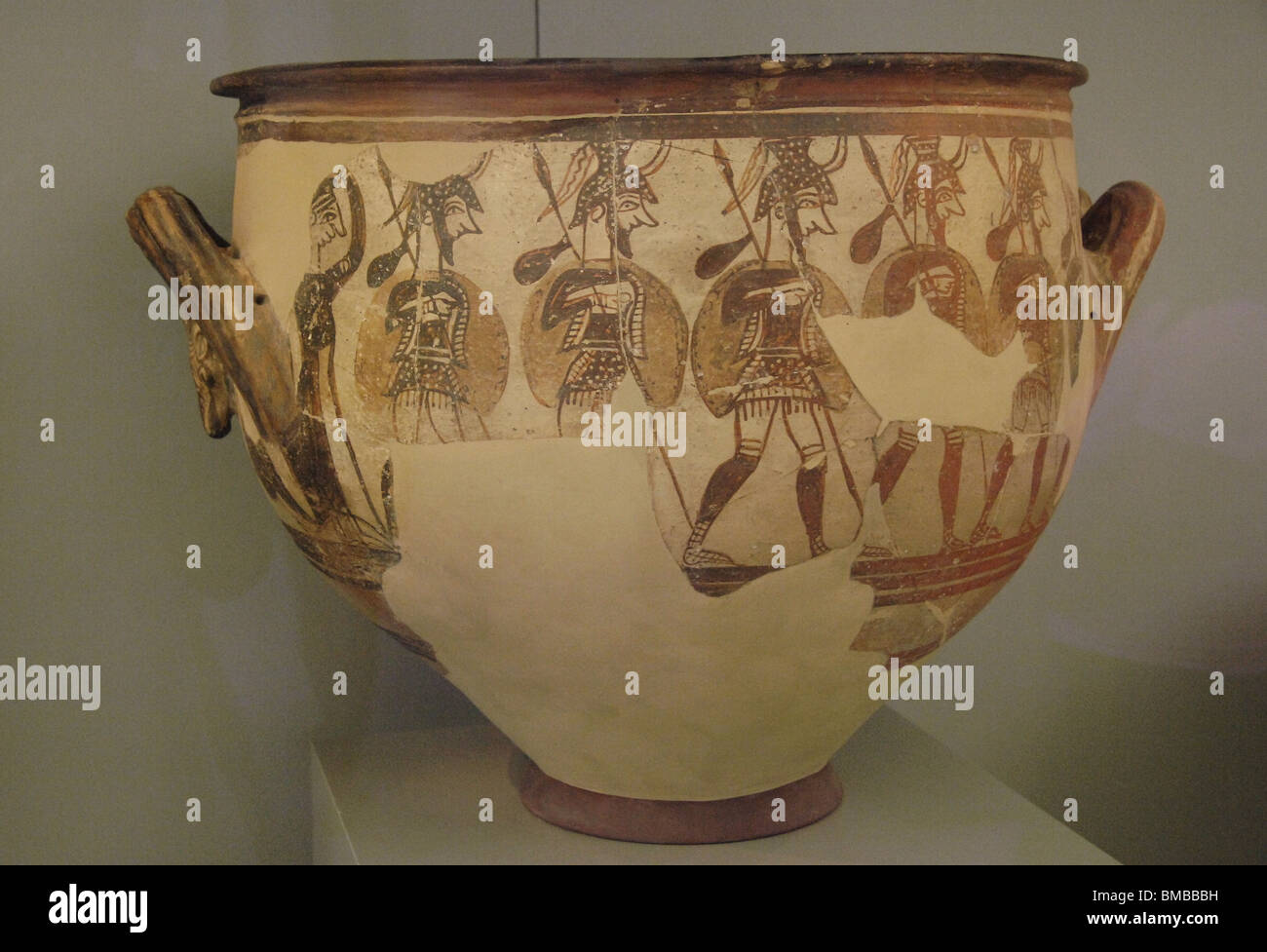 Krater of the Warriors. 1200-1100 B.C. Mycenae. National Archaeological Museum. Athens. Greece. - Stock Image