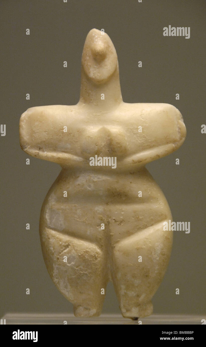 Prehistory. Neolithic. Marble female figure. National Archaeological Museum. Athens. Greece. - Stock Image