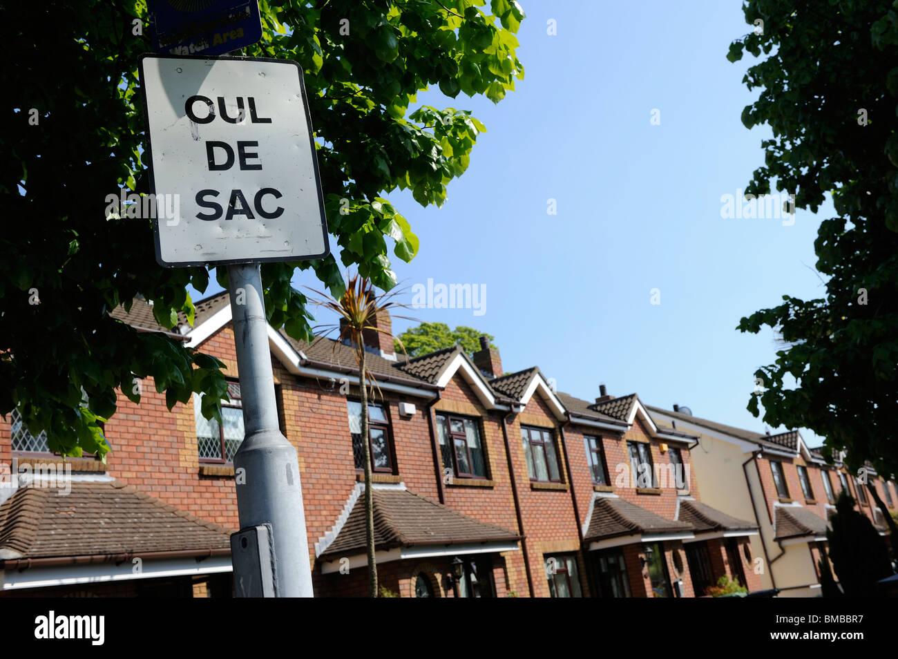 Cul de Sac Sign, Dublin suburb, Ireland - Stock Image
