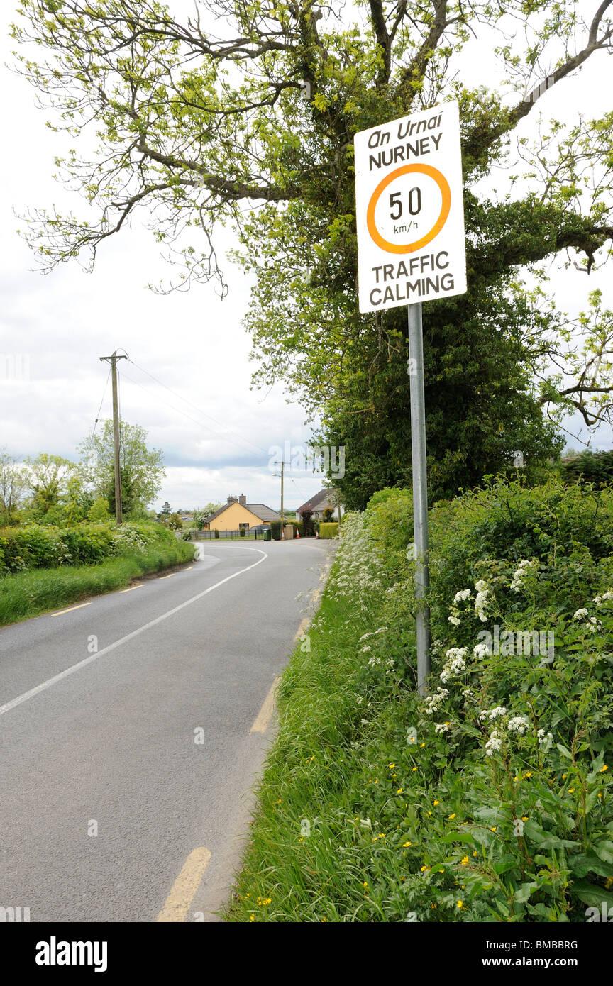 Traffic calming sign, Nurney, Co. Kildare - Stock Image