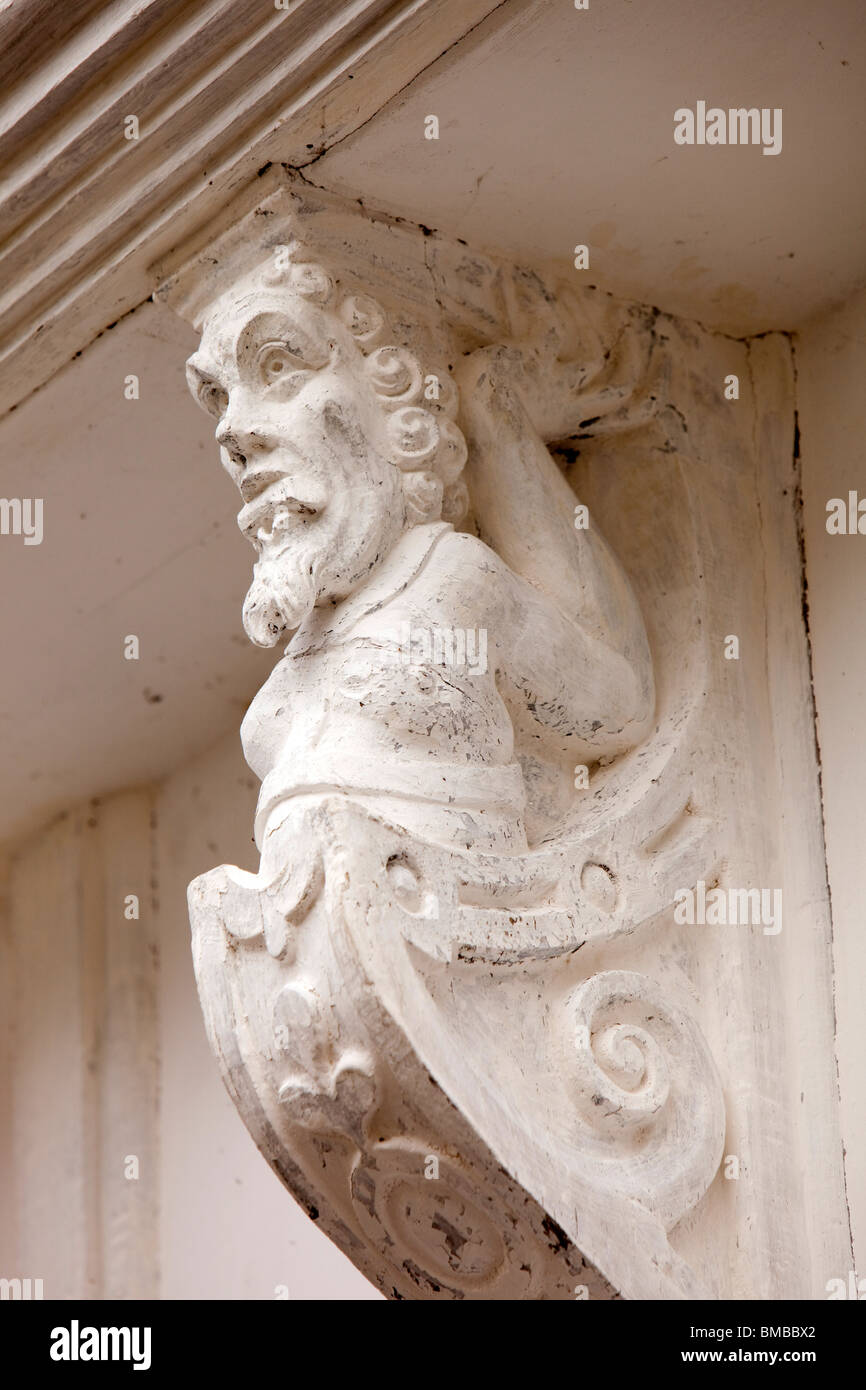 UK, England, Devon, Dartmouth, Smith Street, historic timber framed former Merchants' House detail - Stock Image