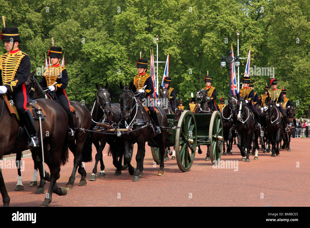 Procession of Gun Carriages in The Mall London - Stock Image