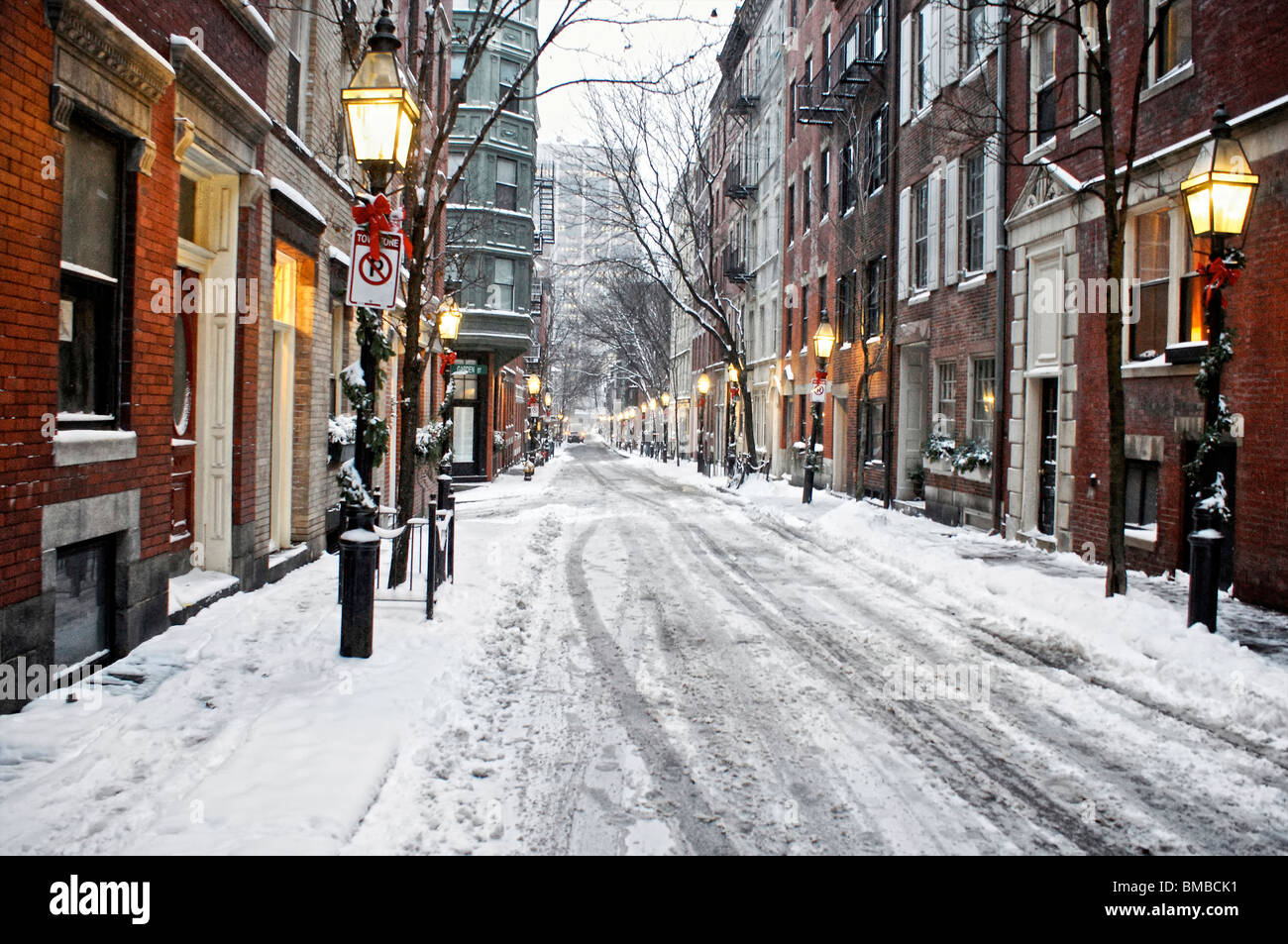 beautiful image of snow covered street with christmas