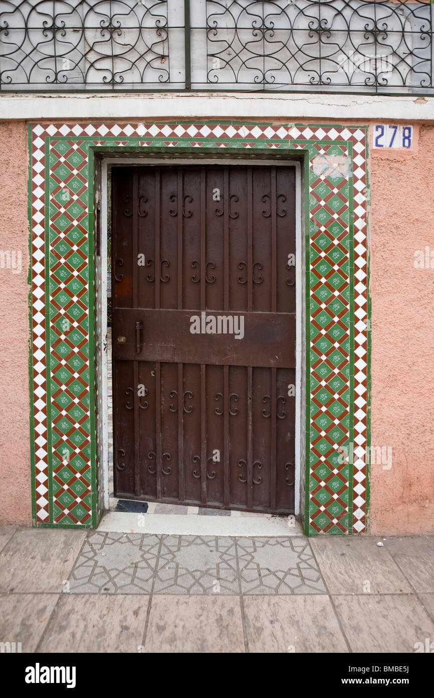 Door detail of number 278, in the medina Marrakesh , Morocco , North Africa - Stock Image