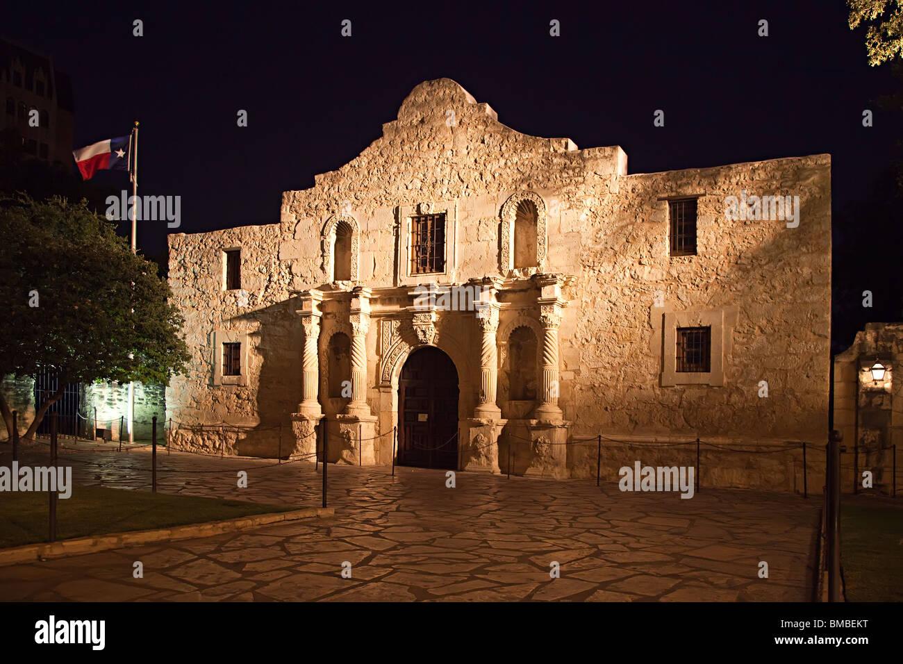 The Alamo floodlit at night San Antonio Texas USA - Stock Image