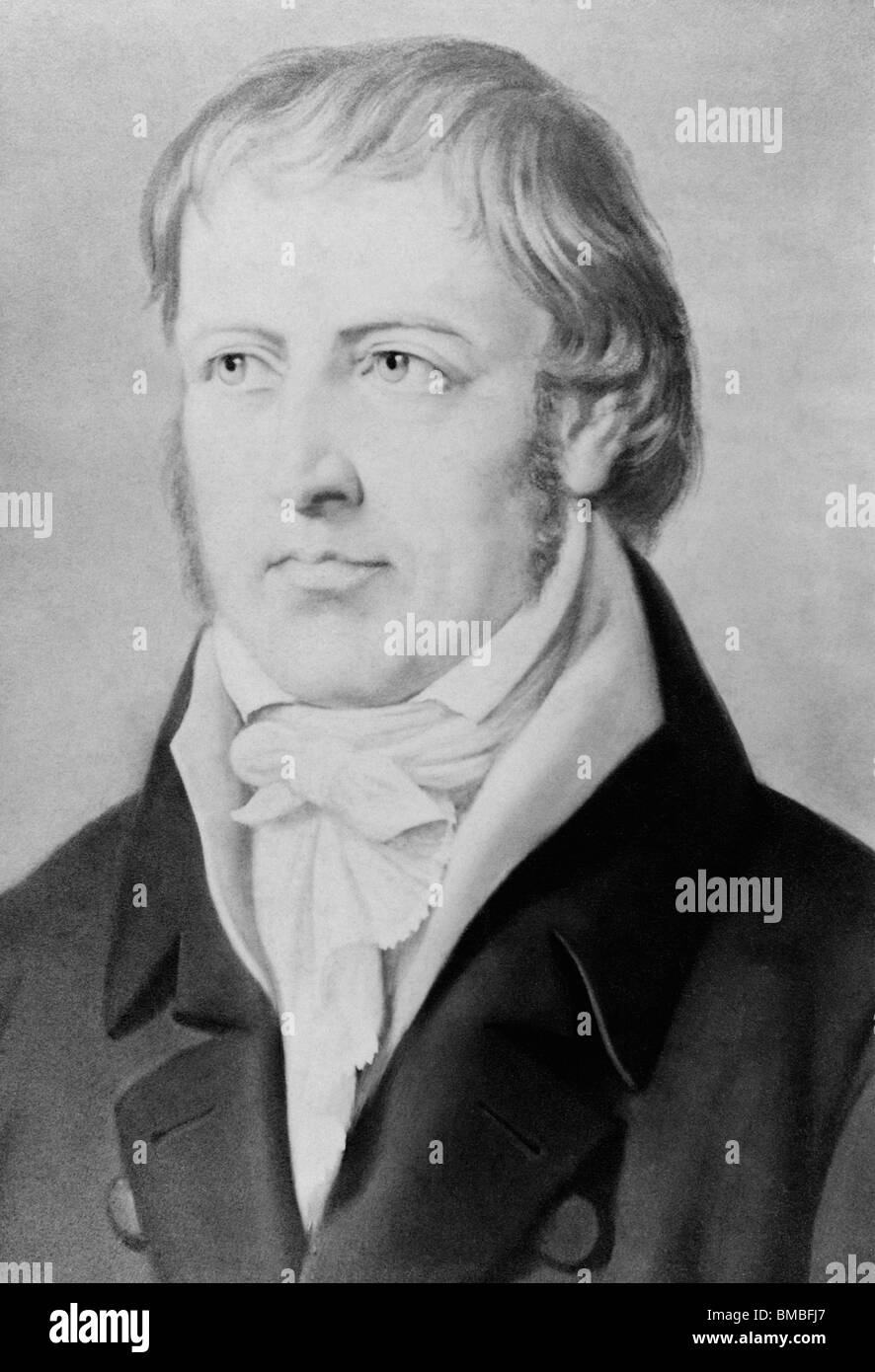 Vintage portrait painting of German philosopher Georg Wilhelm Friedrich Hegel (1770 - 1831). - Stock Image