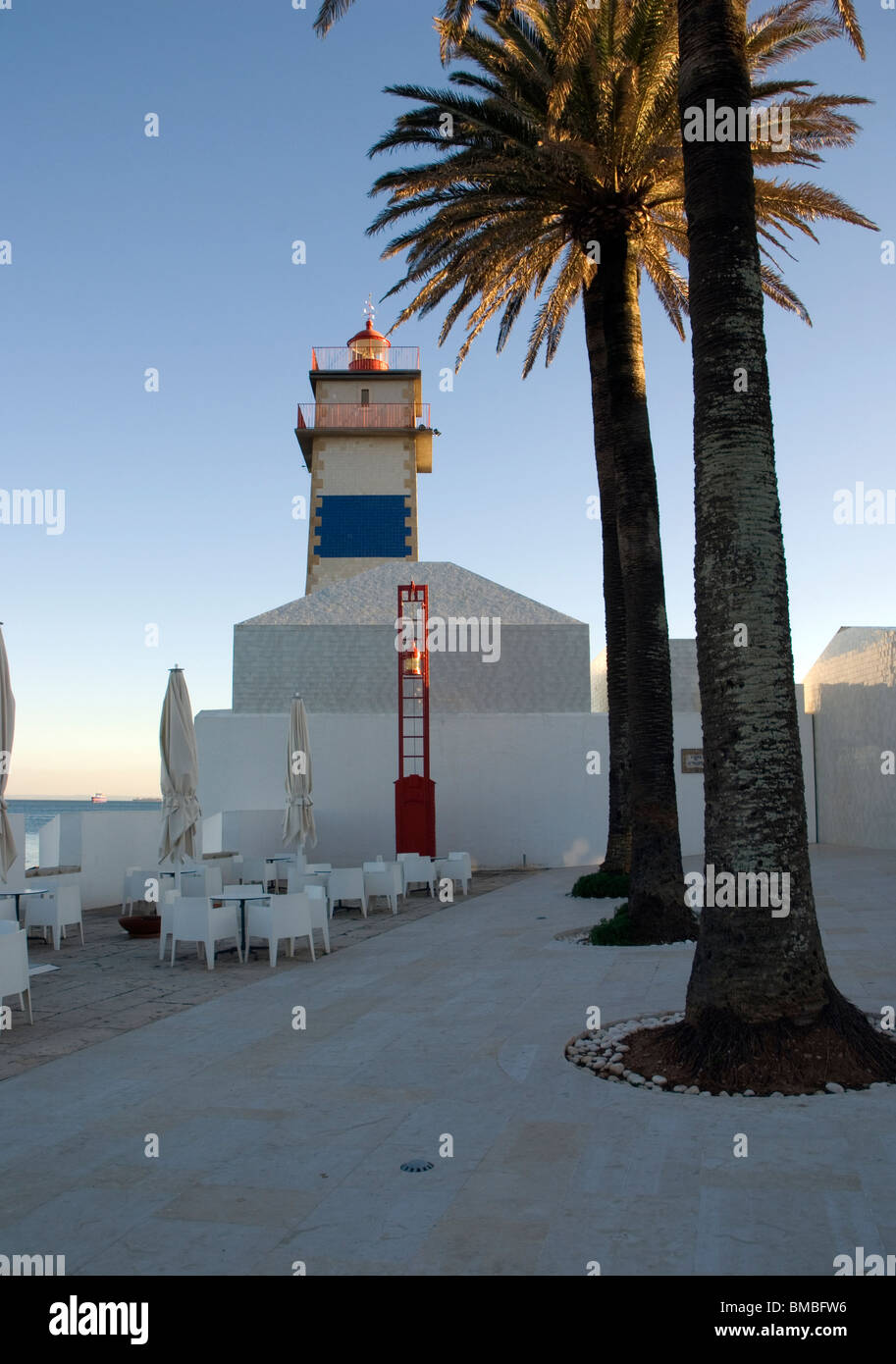 Overall View of the Santa Marta Lighthouse, Cascais, Lisbon, portugal - Stock Image
