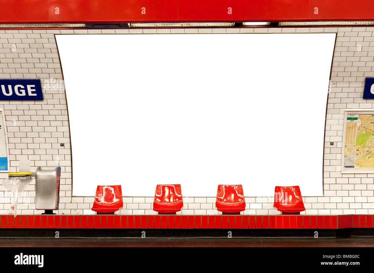 billboard in subway paris - Stock Image