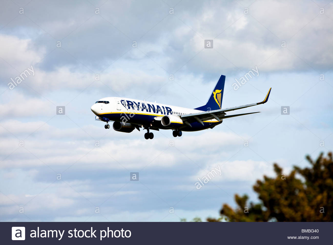 Ryanair Boeing 737-800 just about to land at Cork Airport Ireland - Stock Image