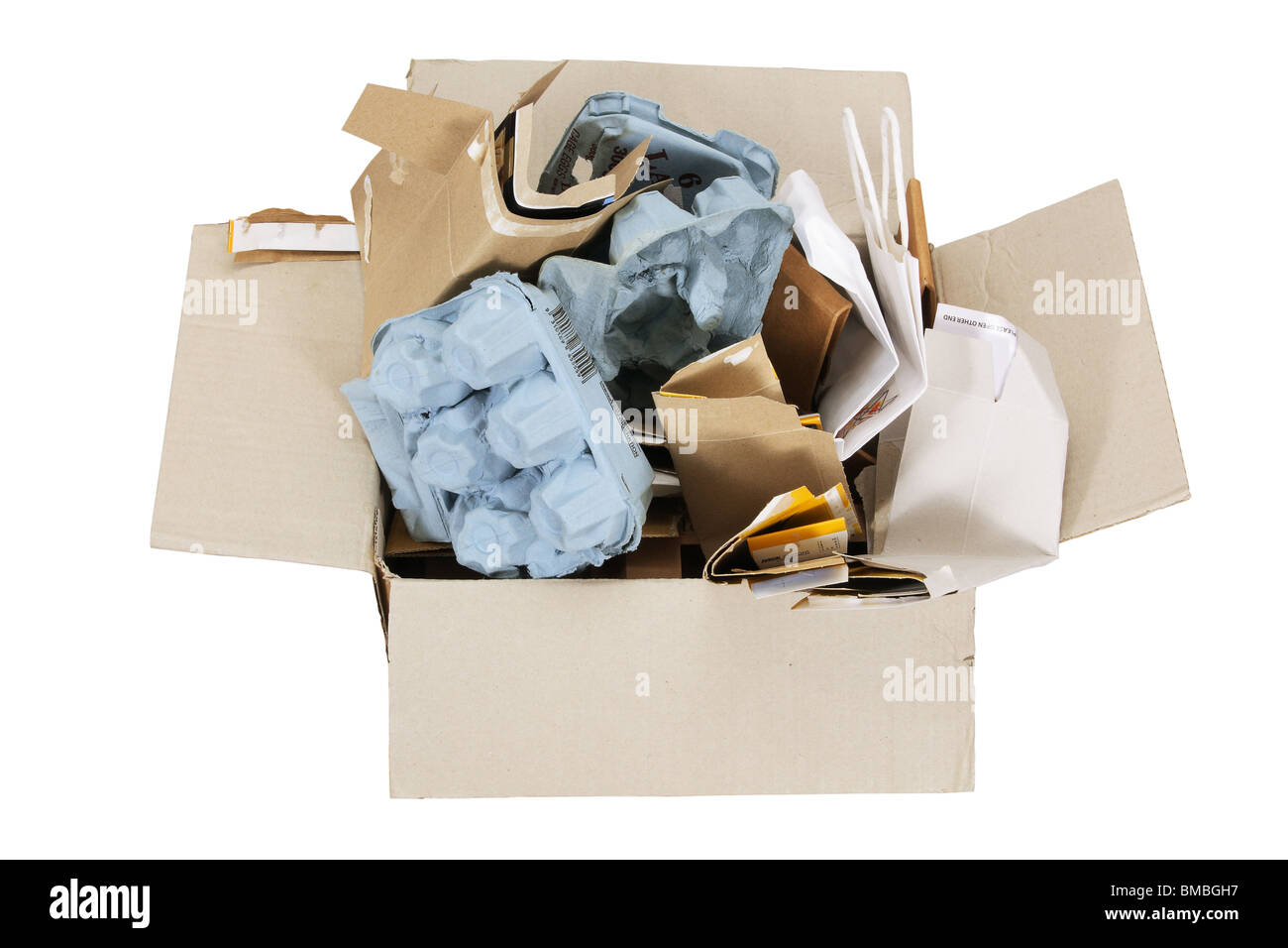 Box of Rubbish for Recycle - Stock Image