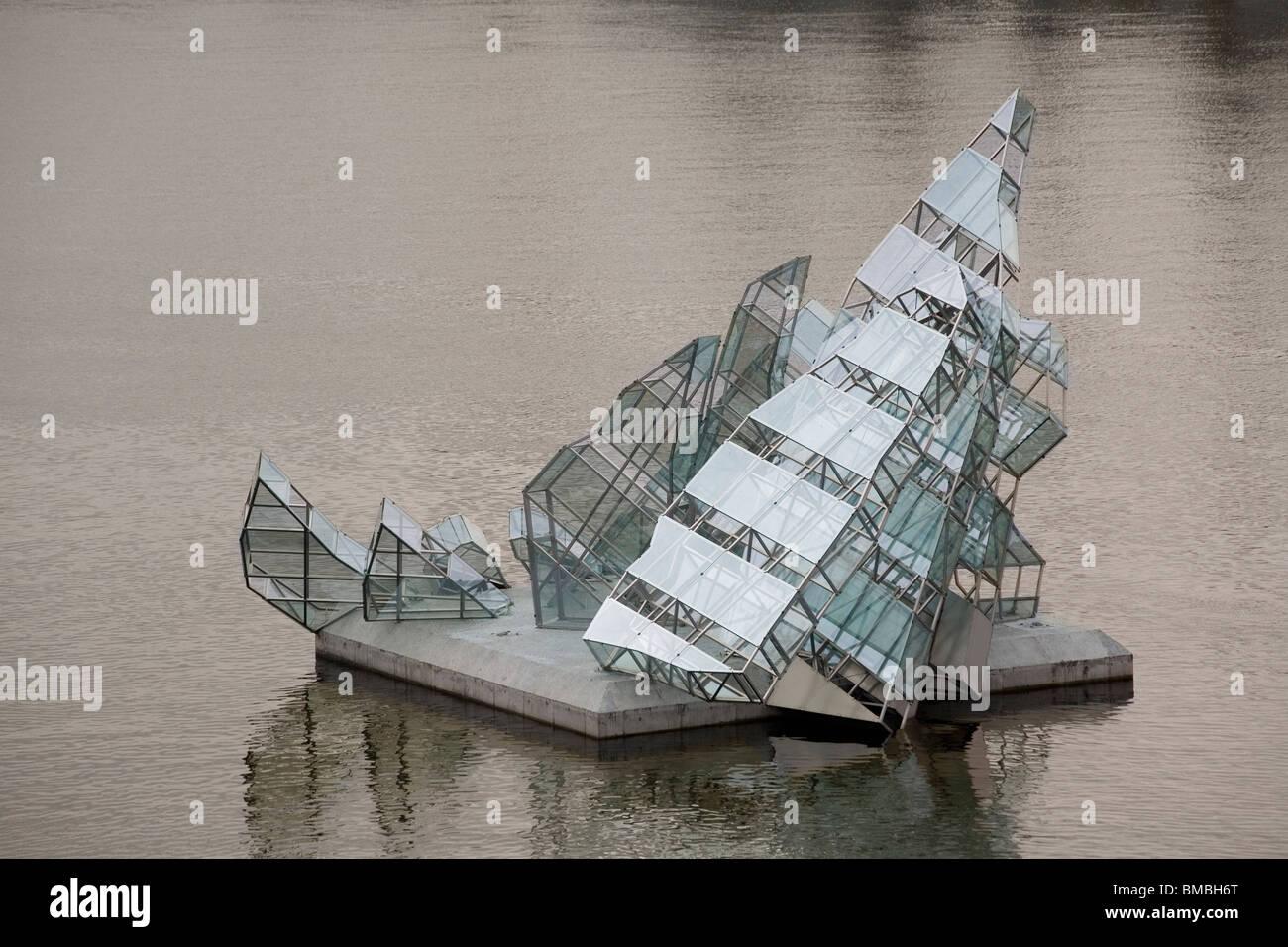 Norway Oslo 'She Lies' sculpture in Bjørvika - Stock Image