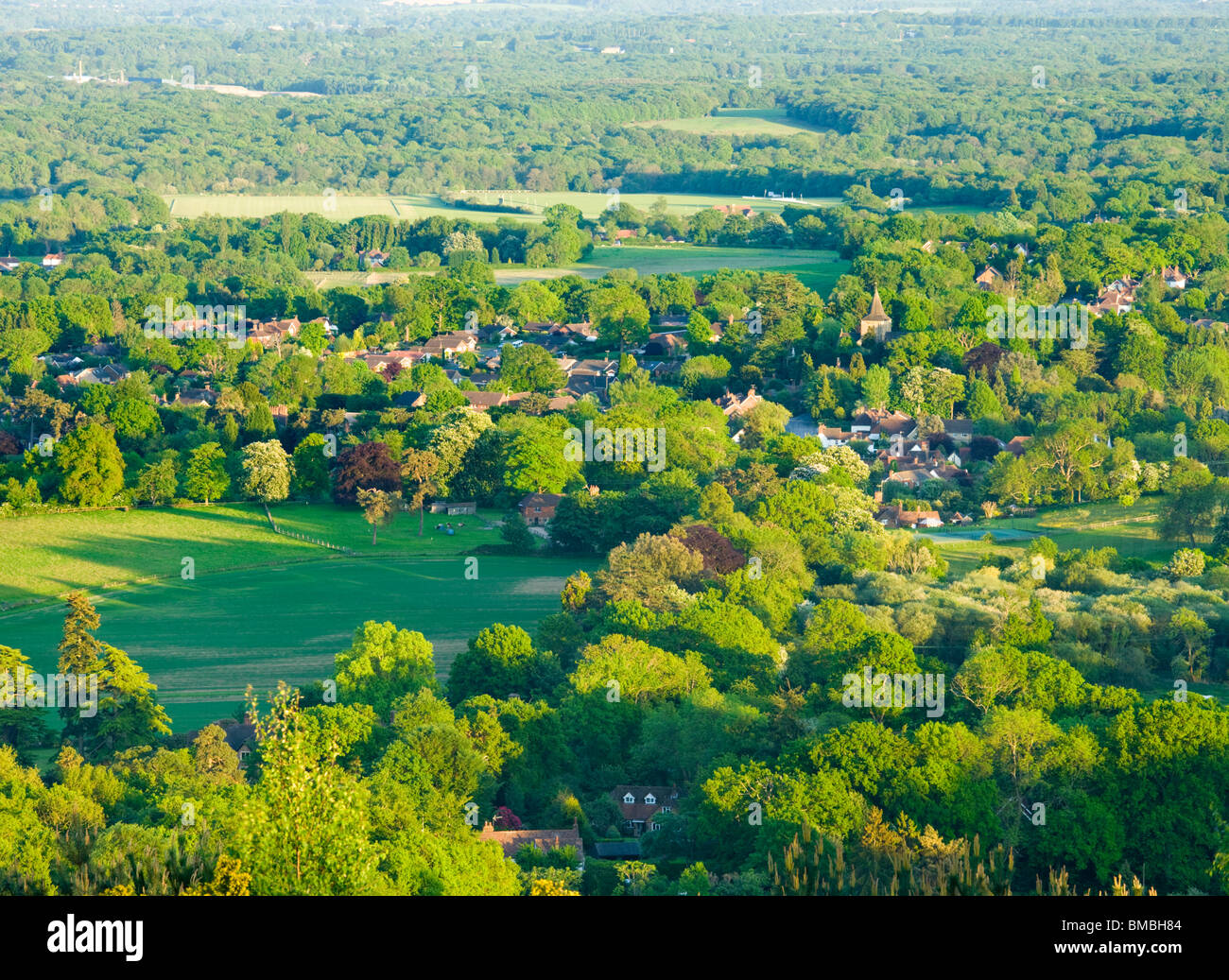 Ewhurst from Pitch Hill, Surrey, UK - Stock Image