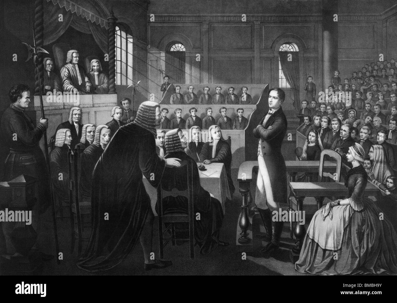 Vintage print depicting trial of Irish nationalist Robert Emmet (1778 - 1803) - leader of 1803 rebellion against - Stock Image