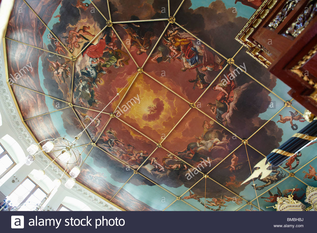 Oxford ,Sheldonian Theatre, Ceiling,Art,Painting Stock Photo