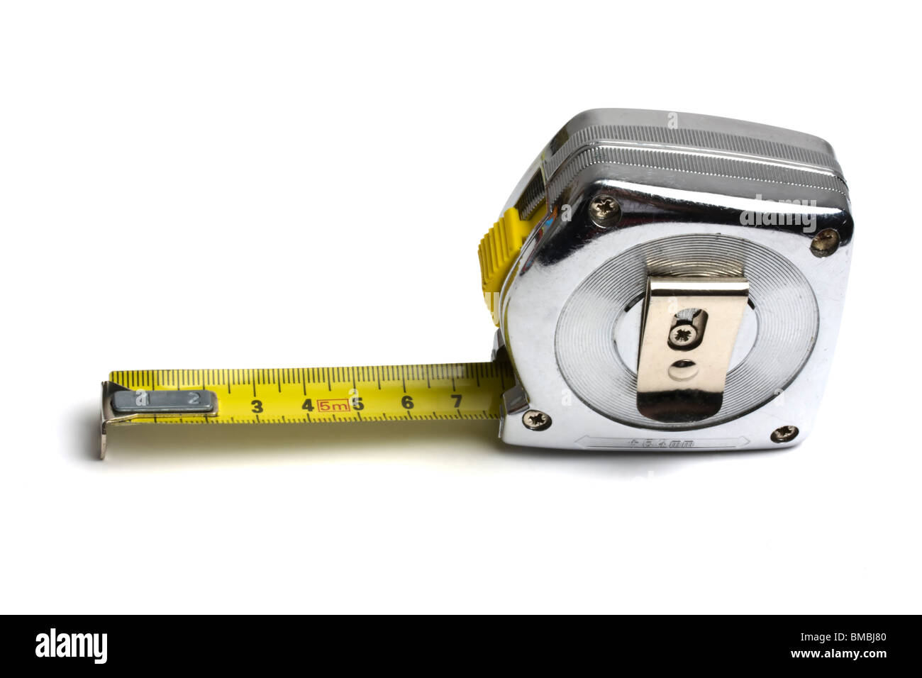 Tape measure isolated on white background - Stock Image