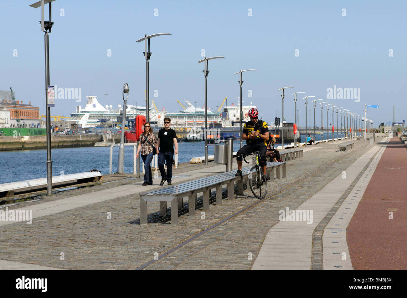 Sir John Rogerson's Quay alongside the River Liffey in the Docklands area of Dublin Ireland a recently redeveloped - Stock Image
