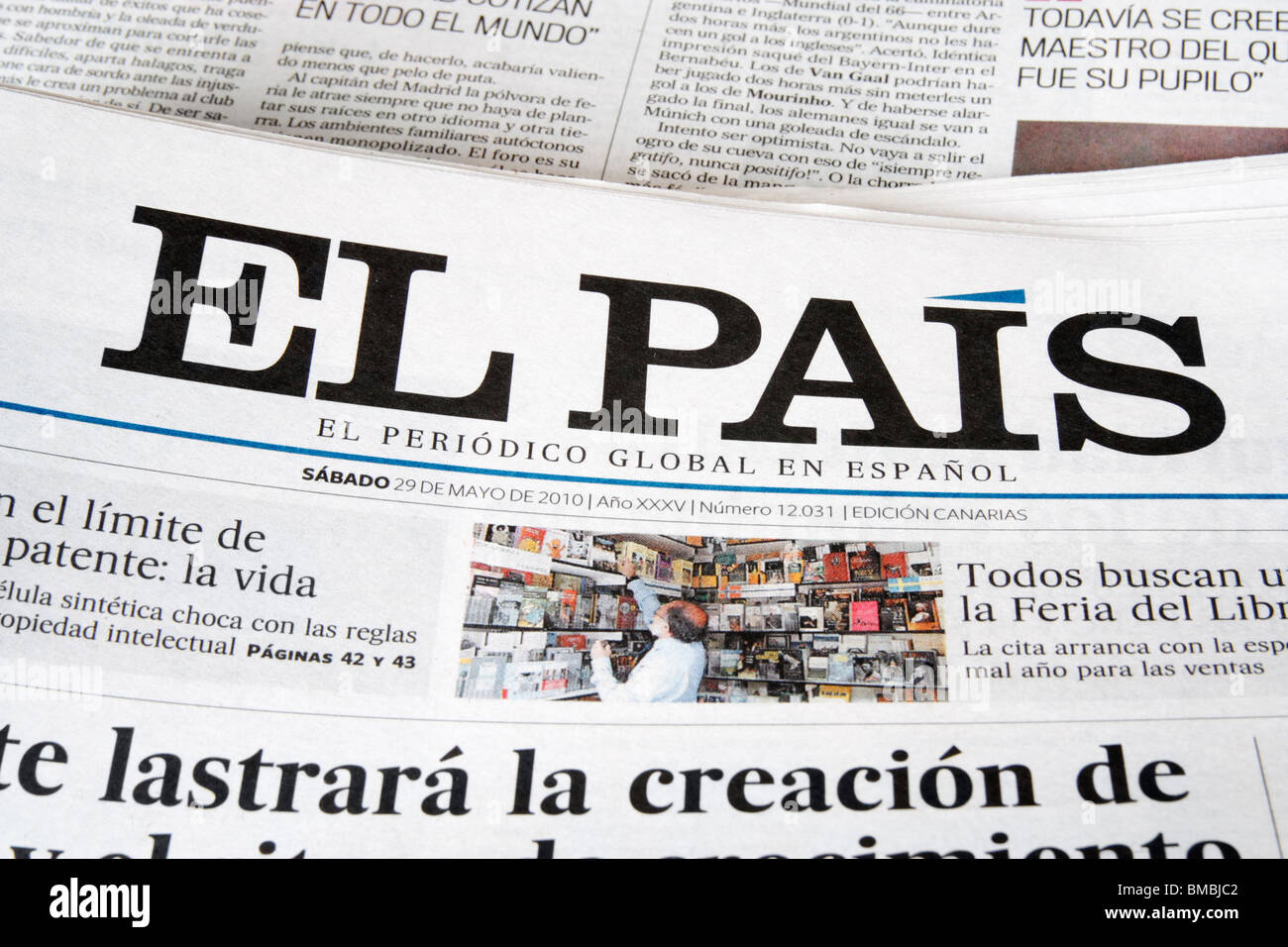 El Pais is Spain's top selling daily national newspaper with a circulation of around 450,000 Stock Photo