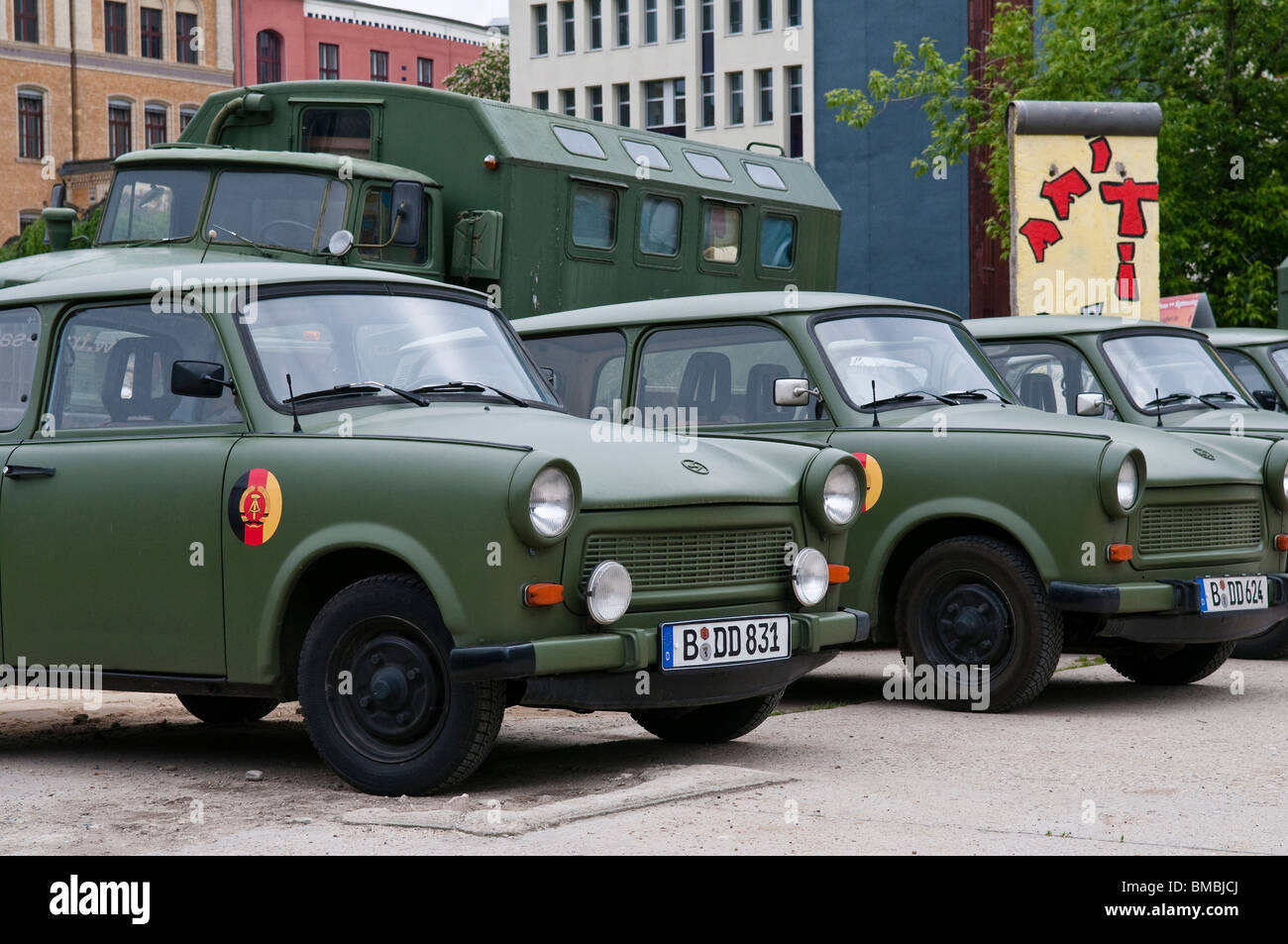 Old GDR Army vehicles of the brand Trabant, Berlin, Germany - Stock Image