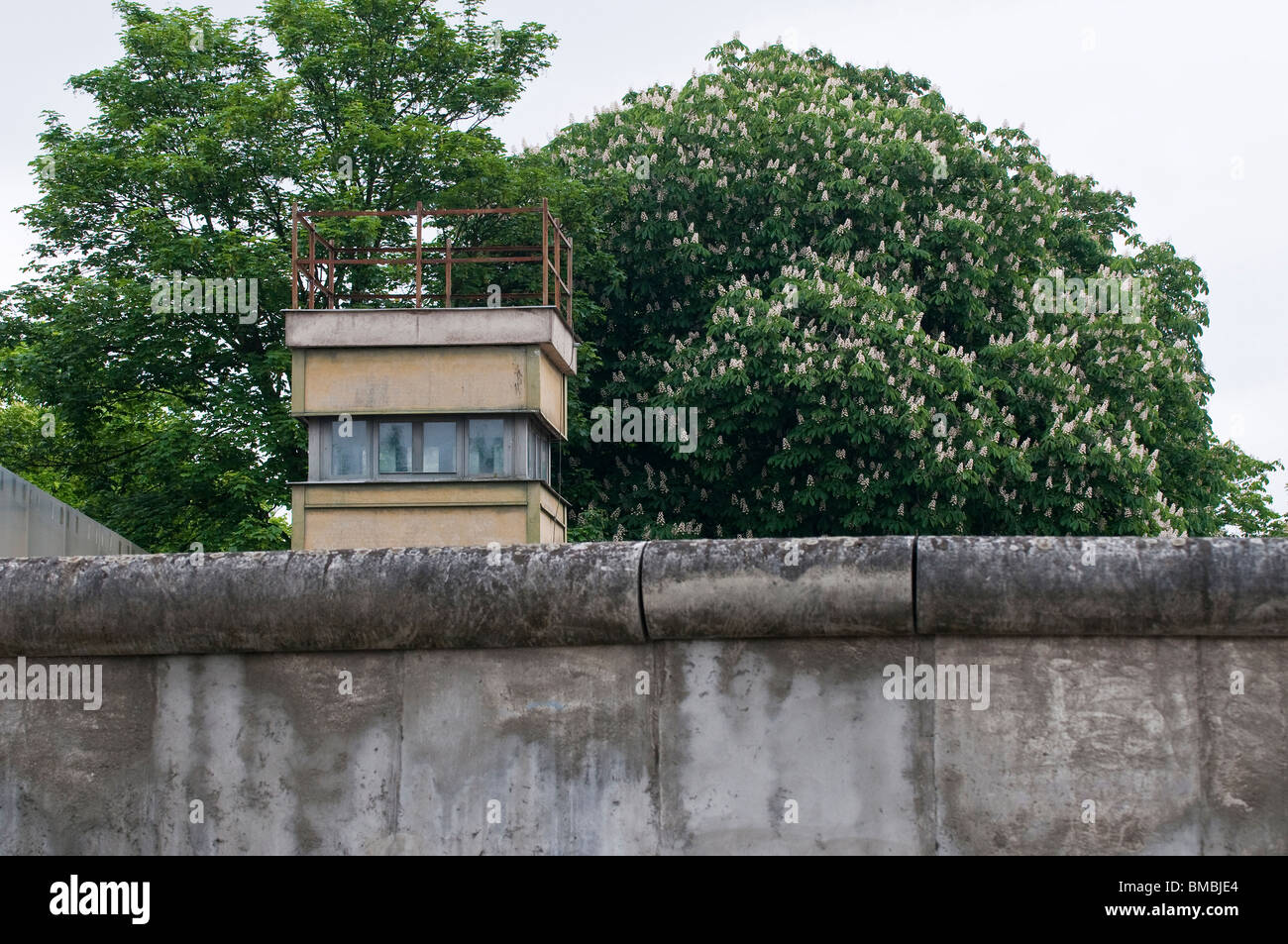 Former guard tower at the Berlin Wall Memorial in the Bernauer Strasse, Berlin, Germany - Stock Image