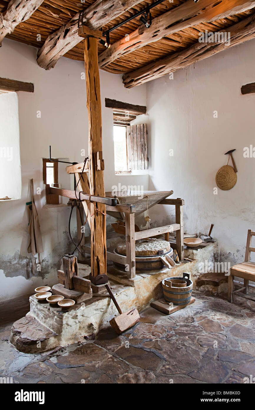 Interior of reconstructed Grist Mill at Mission San Jose oldest mill in the state San Antonio Texas USA - Stock Image