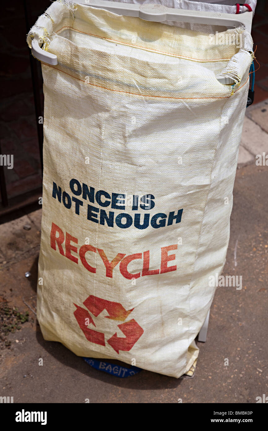 Recycling sack used by the national park service San Antonio Texas USA - Stock Image