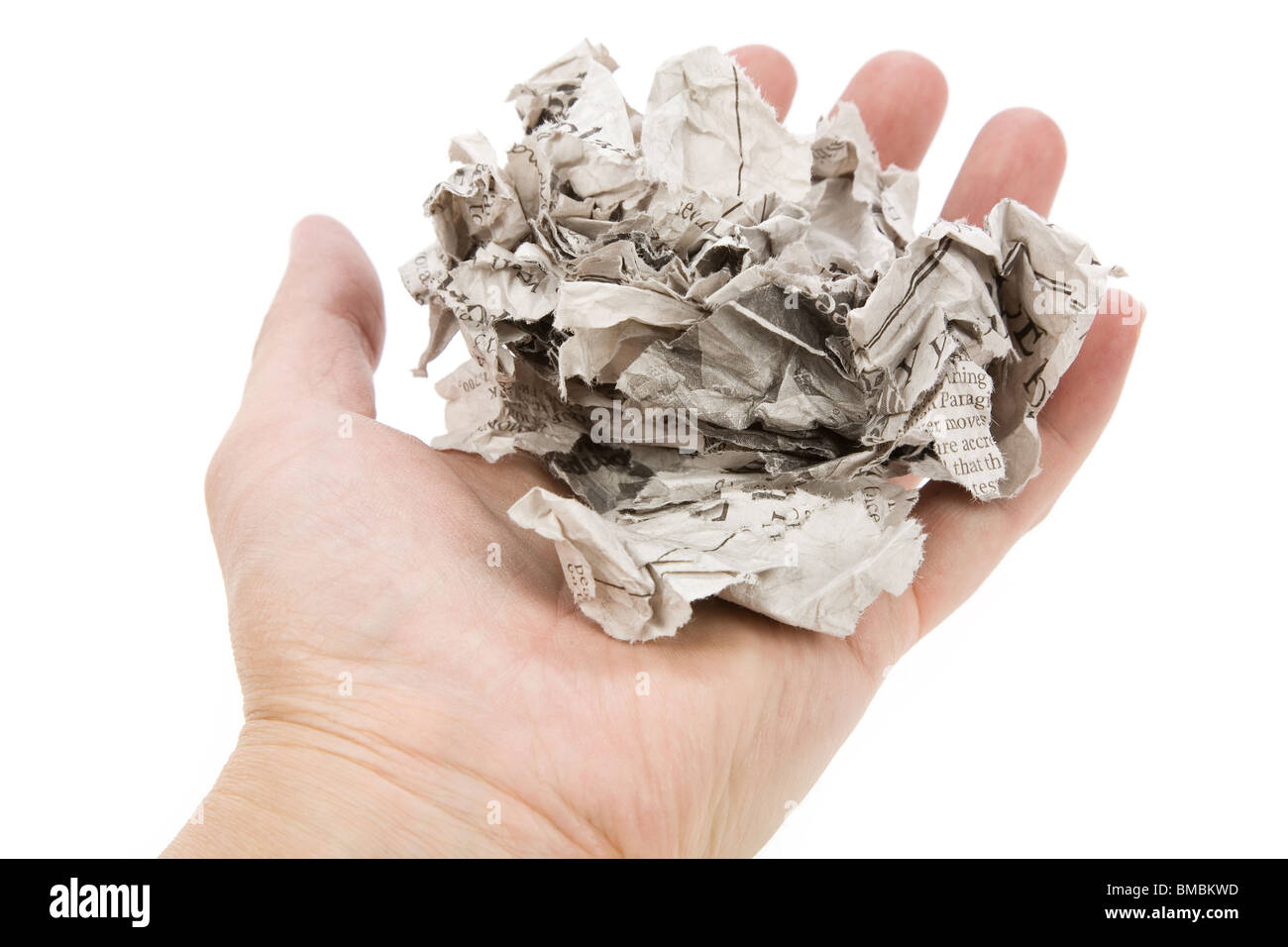 Tearing Newspaper with white background - Stock Image