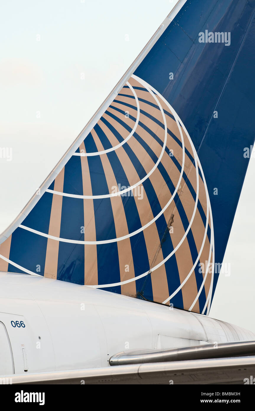 Continental Airlines logo as seen on a tail section of one of the company's  passenger jets. - Stock Image