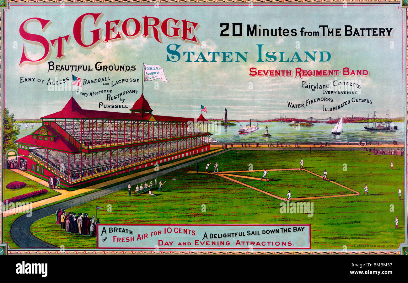 St George Staten Island 20 minutes from the Battery - 1886 Poster - Stock Image