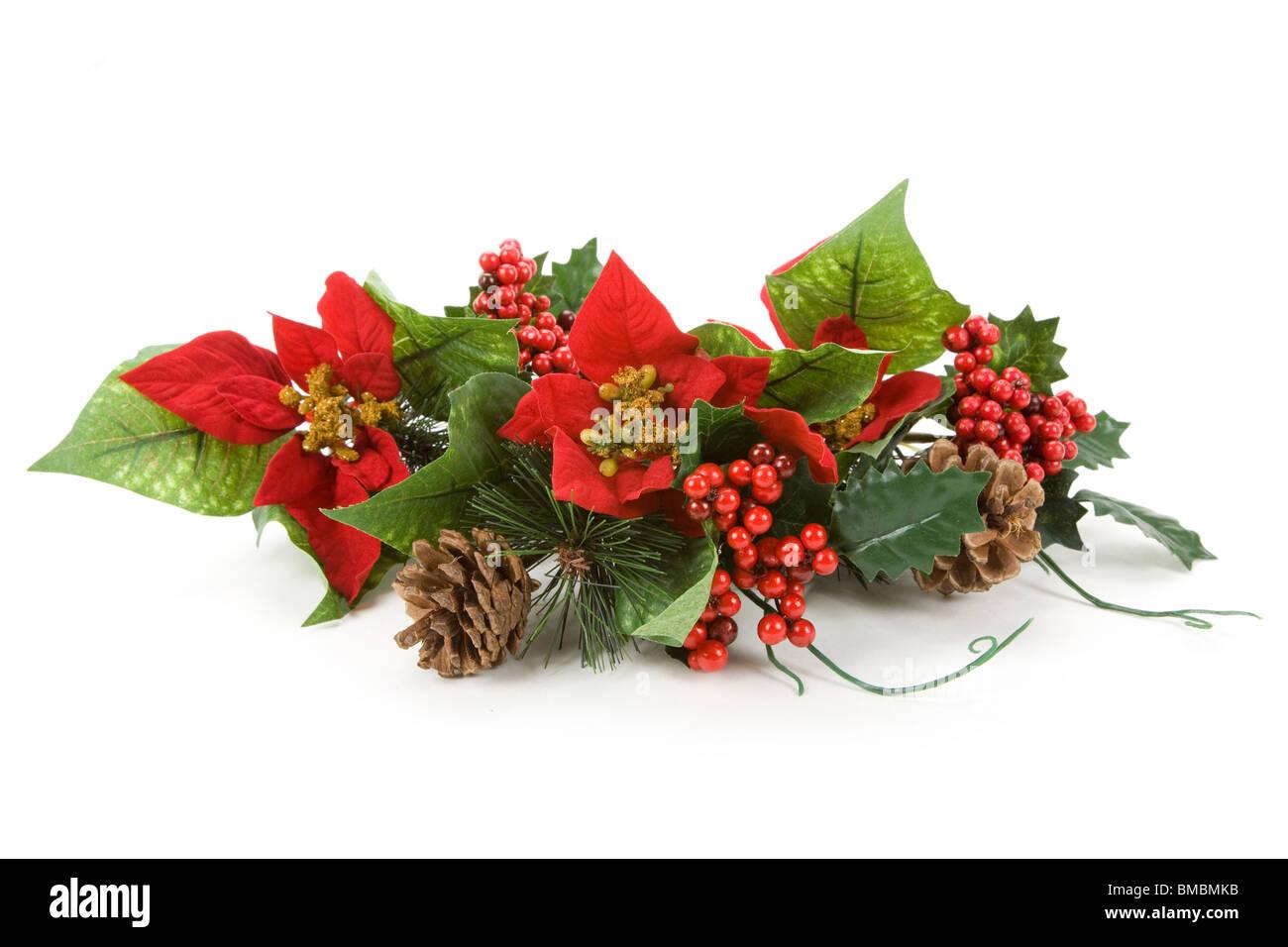 Christmas Decoration, Poinsettia, Pinecone, Holly - Stock Image