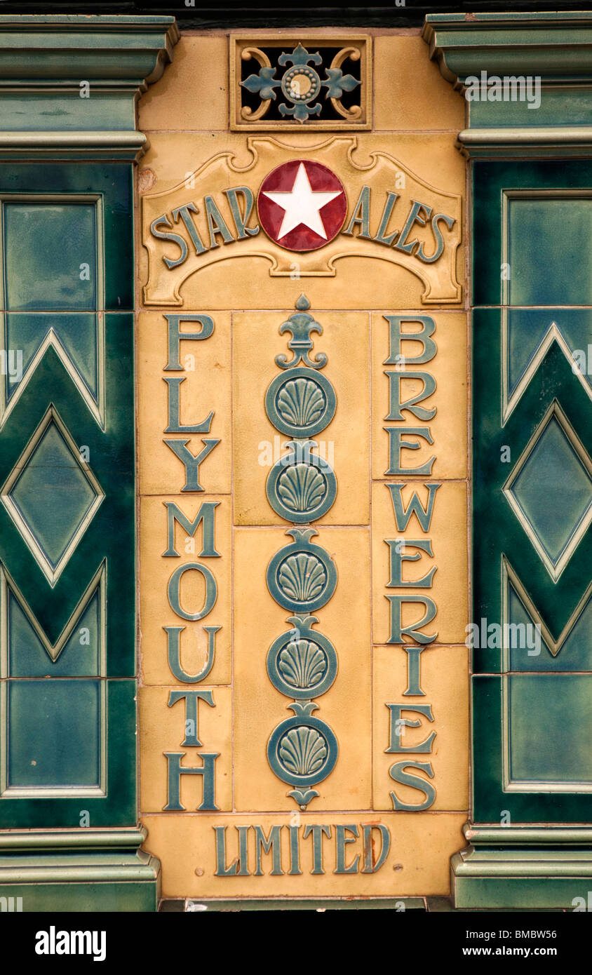 UK, England, Devon, Dartmouth, Town Centre, old Plymouth Breweries Star Ales tiled sign - Stock Image