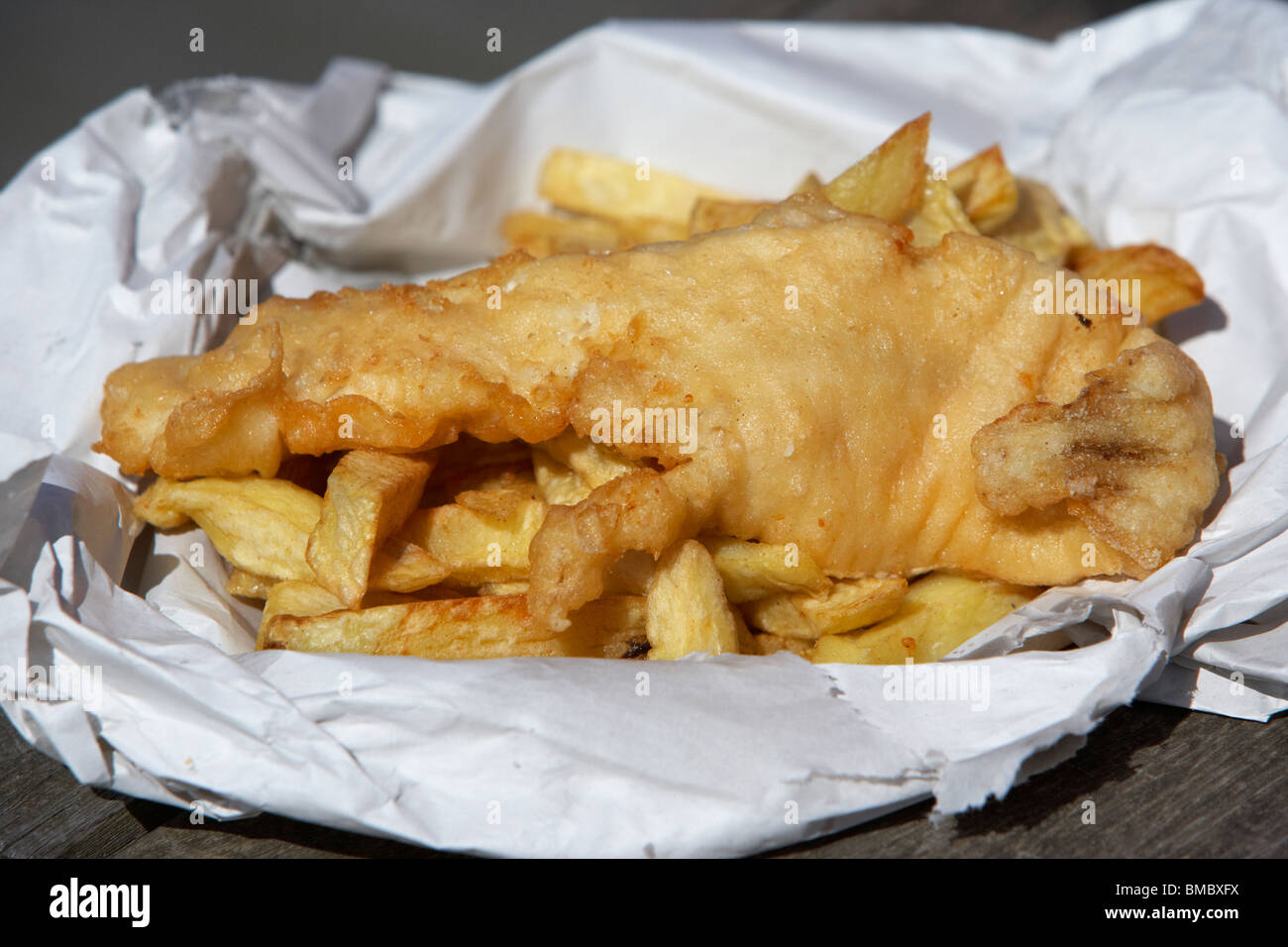 traditional english cod fish and chips england uk - Stock Image