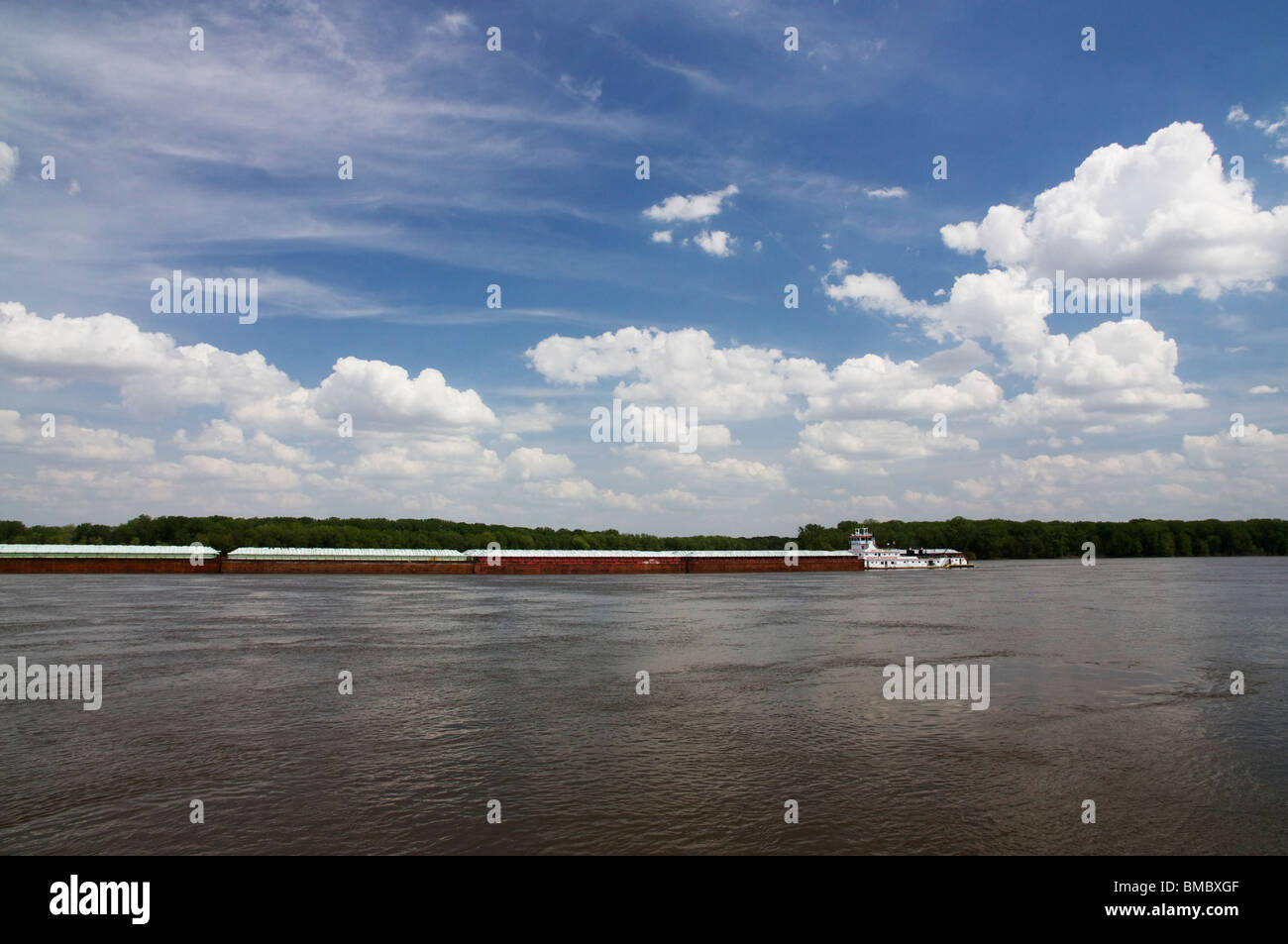 Barge On The Mississippi Stock Photos & Barge On The