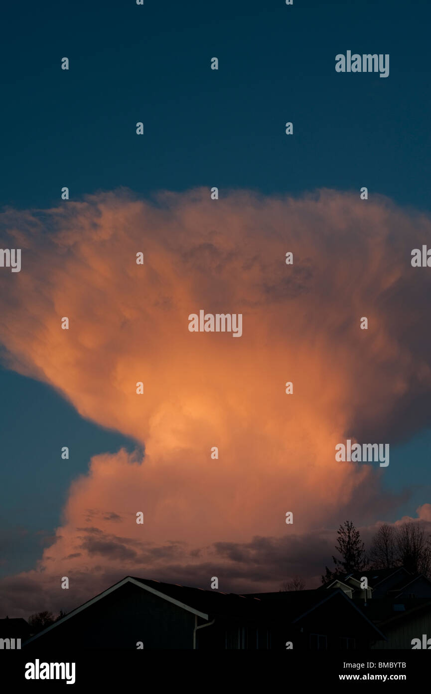 Stormy weather with thunderstorms and swelling Anvil Cumulonimbus - Stock Image
