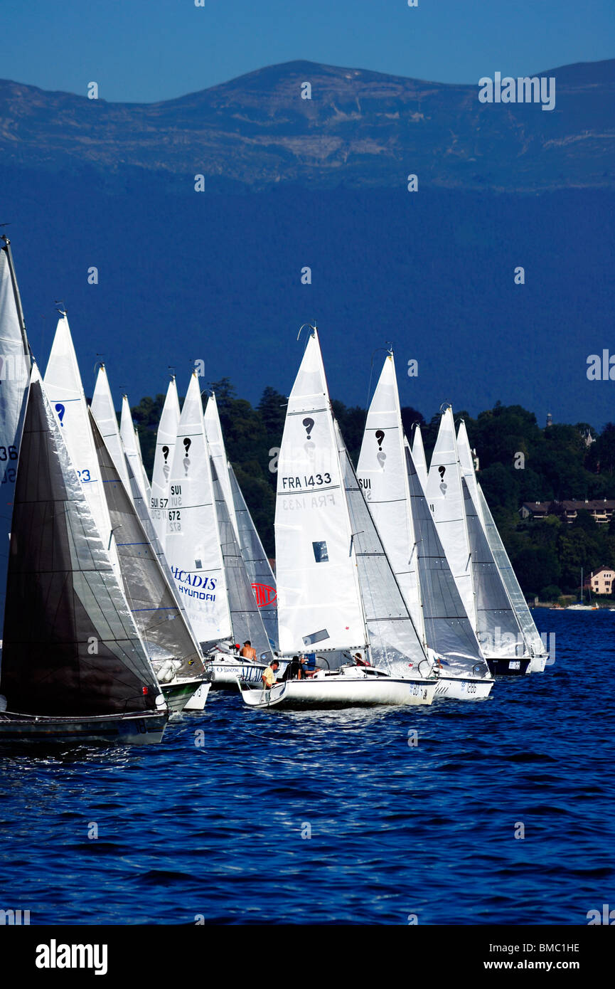 The start of the Bol d'Or yacht race on lac Leman (Lake Geneva) 2009, with the Jura mountains in the background. - Stock Image