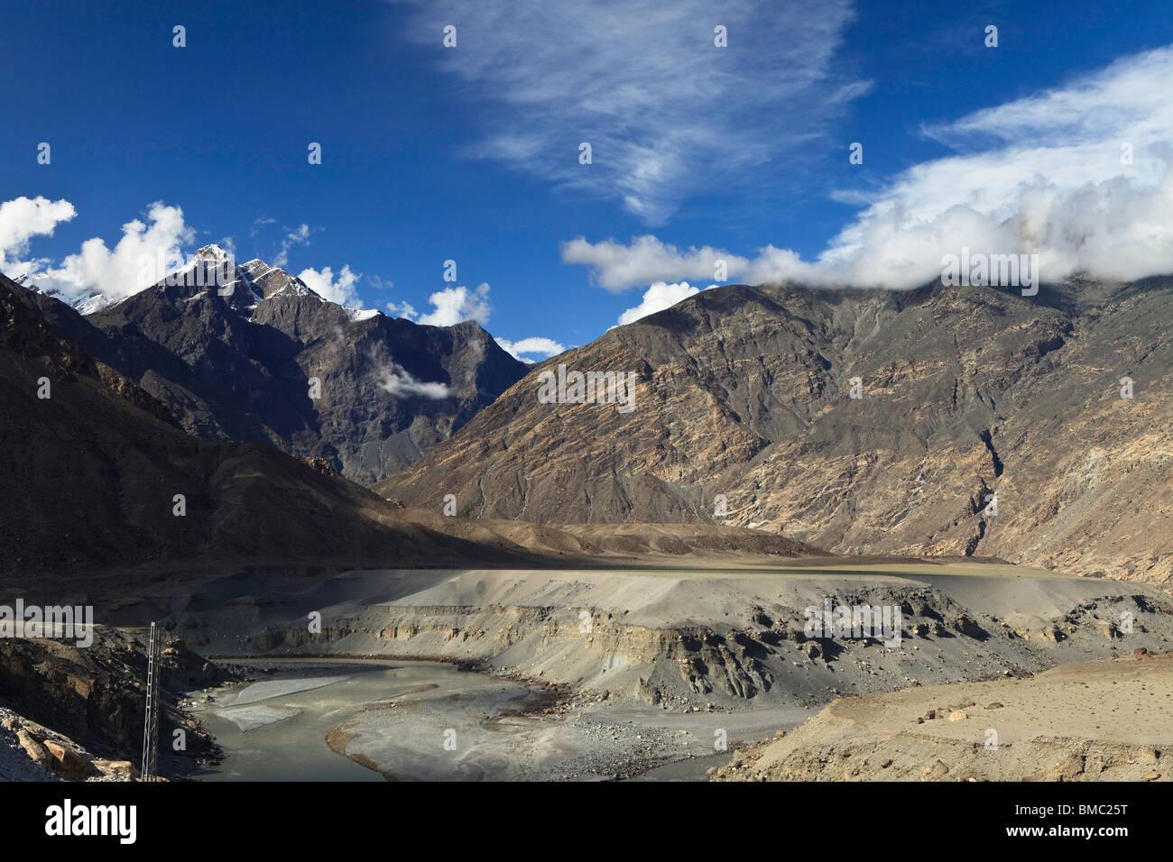The junction of the Karakoram, Hindu Kush and Himalayan Ranges near Gilgit, Pakistan - Stock Image