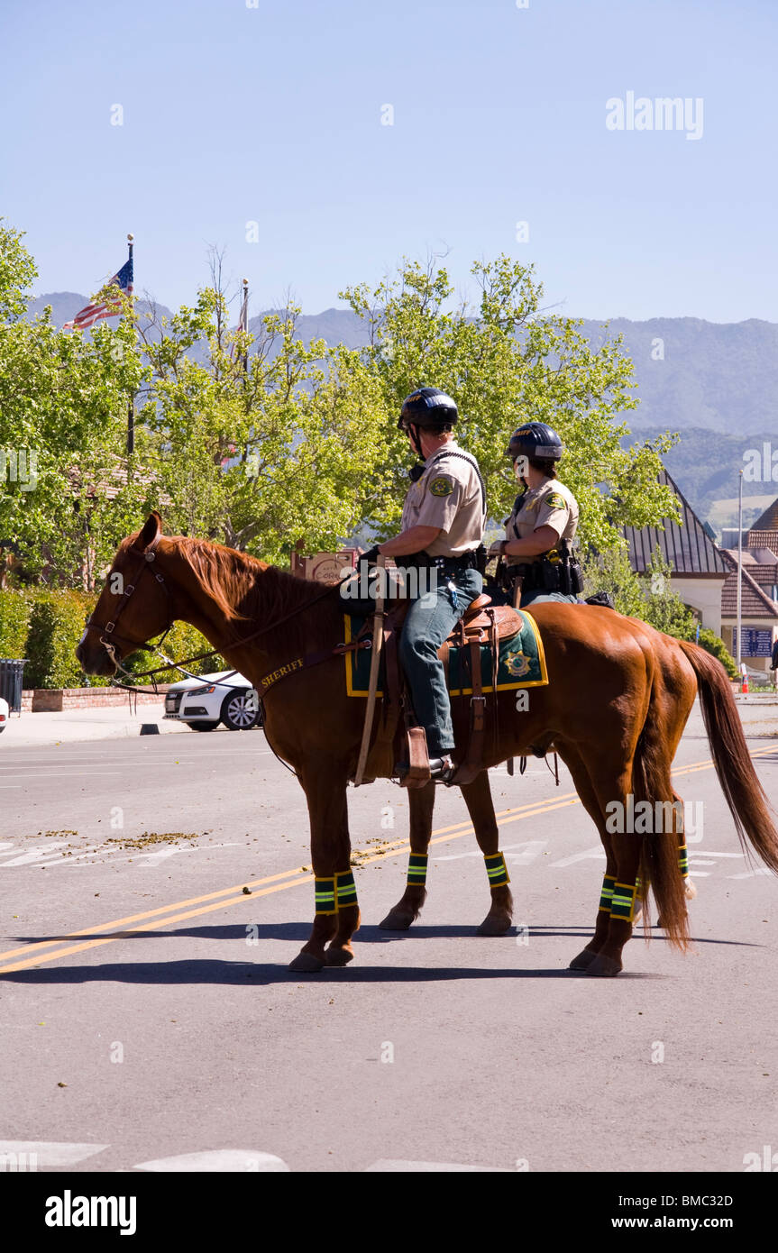 Mounted Police on horses, Solvang, California, USA - Stock Image