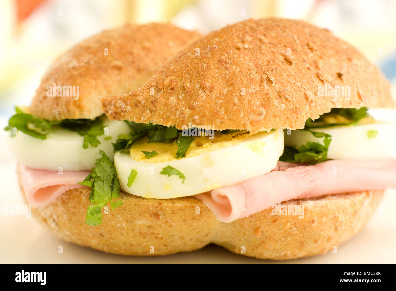 Sandwich of ham and eggs - Stock Image