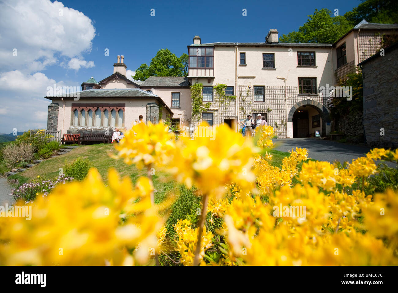 Brantwood House, the home of John Ruskin the artist, on the shores of Coniston Water, Lake District, UK. - Stock Image