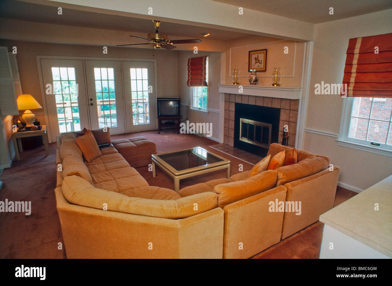 Good American Architecture, Inside Suburban House Living Room   Stock Image