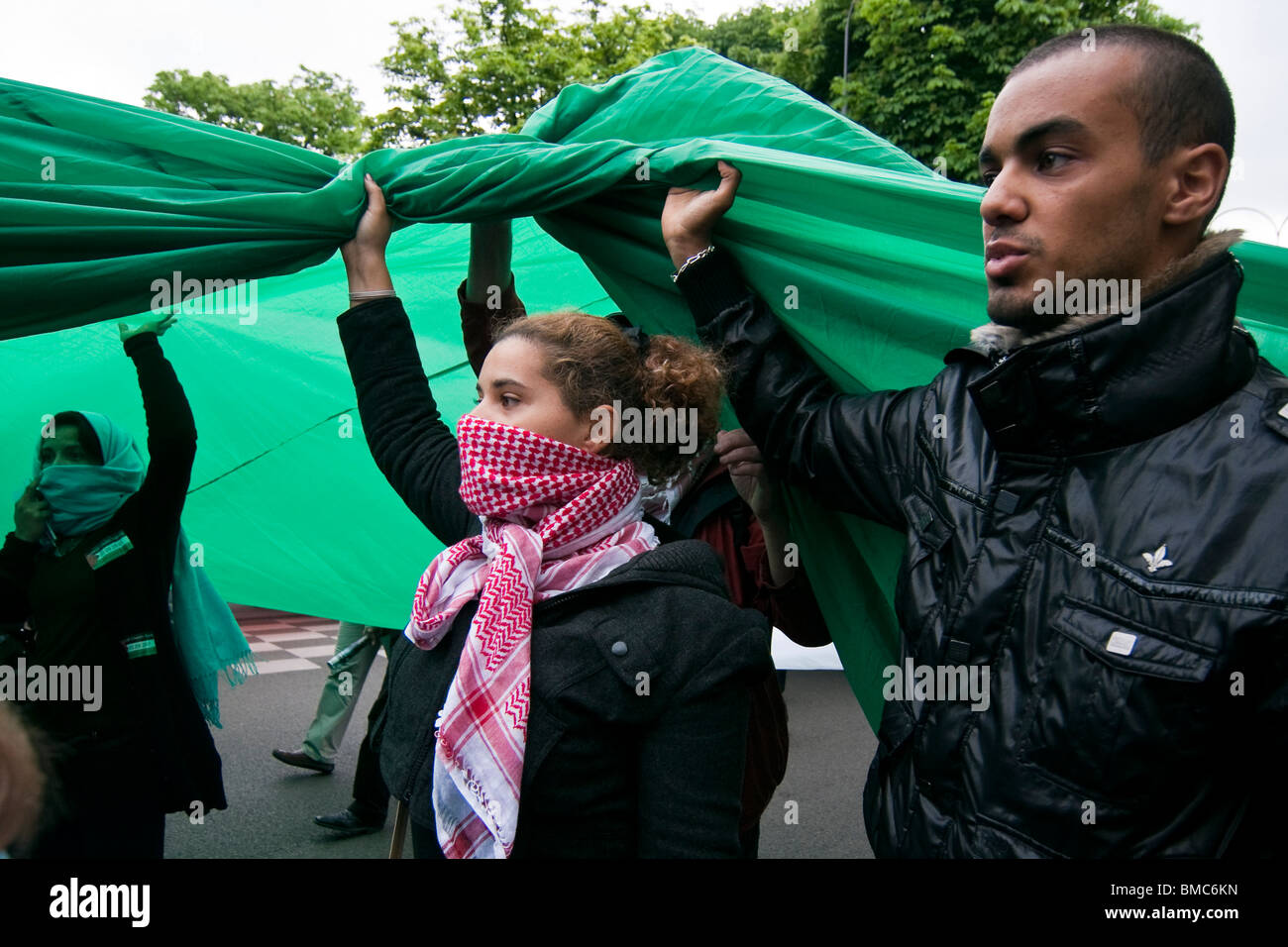 Pro-Palestinian demonstration in Paris to protest against Israel's deadly commando raid on a flotilla heading - Stock Image