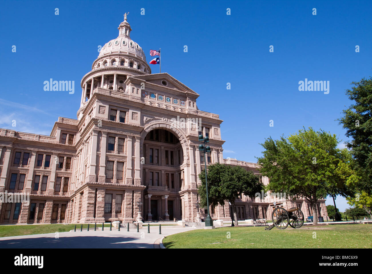 Front of Texas state capitol building or statehouse in Austin - Stock Image