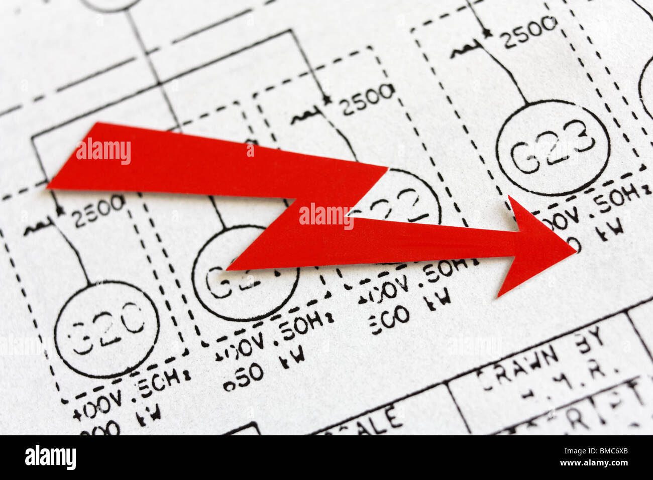 Red arrow symbolizing energy industry over schematics with a group of diesel generators. - Stock Image