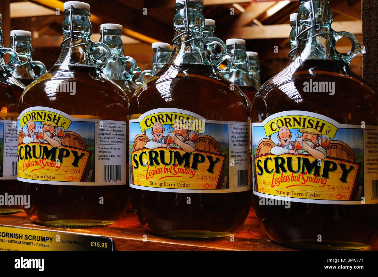 flagons of cornish scrumpy cider in a farm shop near truro,cornwall,uk Stock Photo