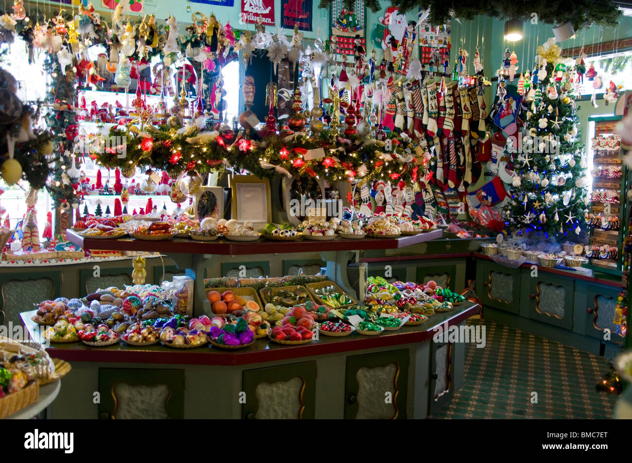 Christmas Ornament And Decoration Store In Solvang, California, USA
