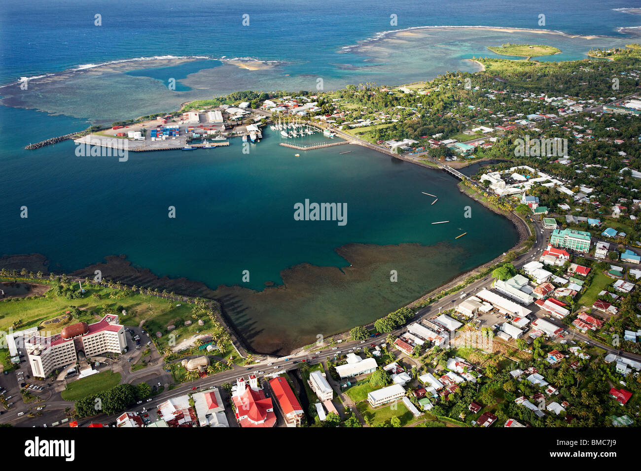 Aerial view of Apia town and harbour, Upolu, Samoa - Stock Image
